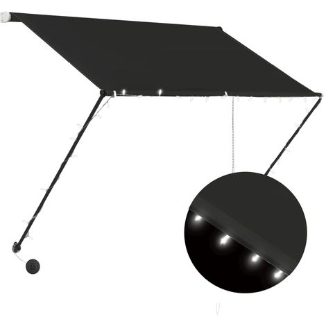 Toldo retractil con LED gris antracita 200x150 cm