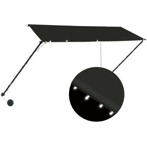 Toldo retractil con LED gris antracita 300x150 cm