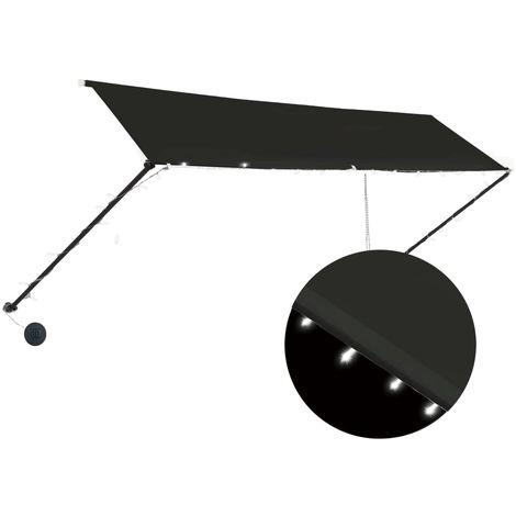 Toldo retractil con LED gris antracita 400x150 cm