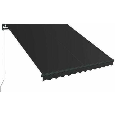 Toldo retráctil manual con LED gris antracita 300x250 cm