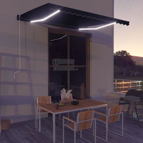 Toldo retráctil manual con LED gris antracita 400x300 cm