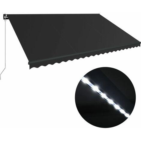 Toldo retráctil manual con LED gris antracita 500x300 cm