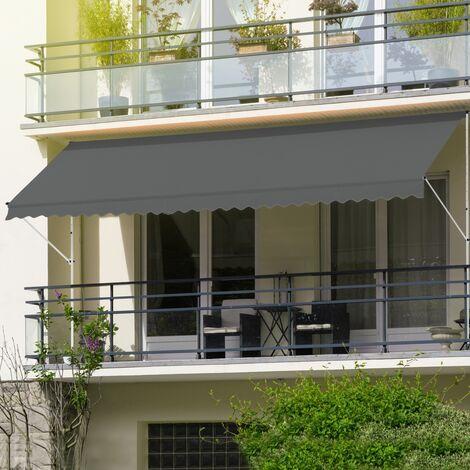 Toldo retráctil manual lona altura regulable sombrilla 200x120cm gris ML-Design®