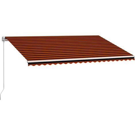 Toldo retráctil manual naranja y marrón 500x300 cm