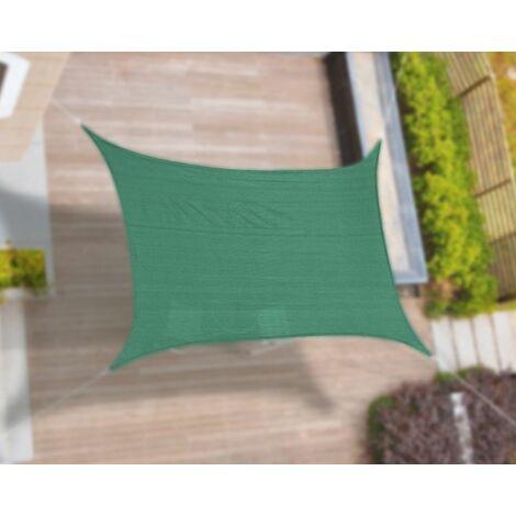 Toldo tipo vela cuadrado 3,6x3,6 mts. Color verde