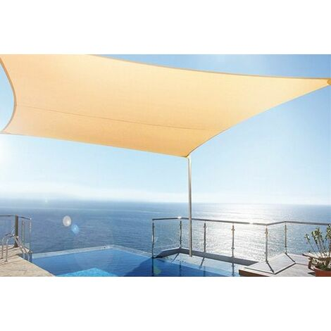 Toldo tipo vela rectangular 4x6 mts. Color arena