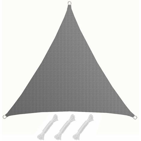 Toldo UV HDPE 3x3x3 Vela de Protección Solar Triangular Techo Balcón Jardín Gris