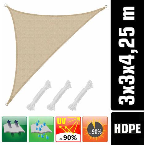 Toldo UV HDPE 3x3x4,25 Vela de Protección Solar Triangular Techo Jardín beige