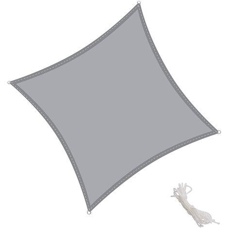 Toldo Vela Cuadrado 3x3m Vela de Sombra para Exteriores Patio Jardín Protección UV PES Impermeables, Color Gris