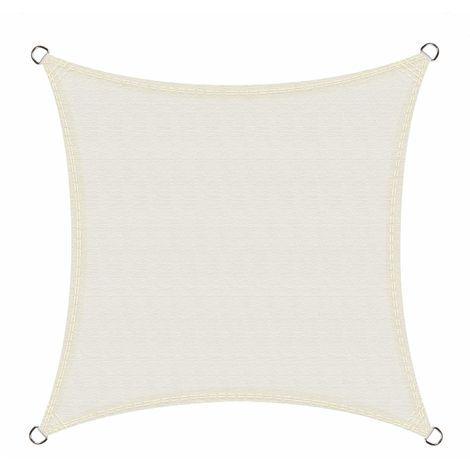 Toldo Vela de Sombra Impermeable Cuadrado 4 x 4 Metros protección UV, Color Crema