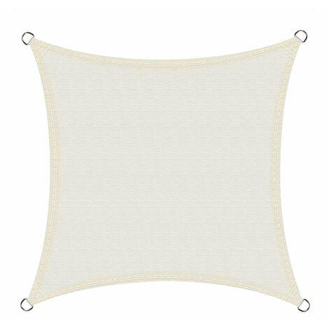 Toldo Vela de Sombra Impermeable Cuadrado 5 x 5 Metros protección UV, Color Crema