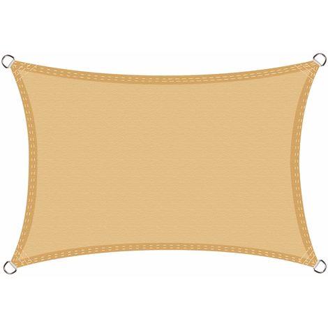 Toldo Vela de Sombra Impermeable Rectángulo 3 x 5 Metros protección UV