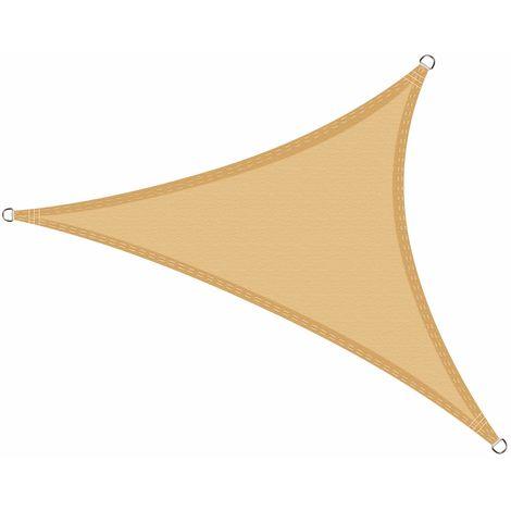 Toldo Vela de Sombra Impermeable triángulo 6 x 6 x 6 Metros protección UV, Color Arena