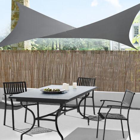 Toldo vela de Sombra para jardín - Sombrilla - Parasol - Repelente al agua cuadrado 4m x 4m gris oscuro