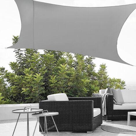 Toldo vela de Sombra para jardín - Sombrilla - Parasol - Repelente al agua rectangular 2m x 4m gris claro