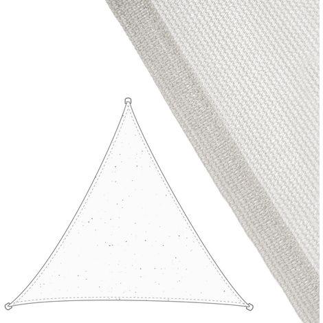 Toldo vela de sombreo triangular blanco de fibra HDPE de 3,5x3,5x3,5 metros