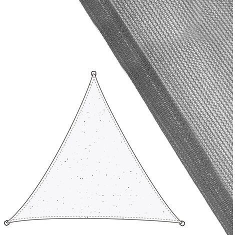 Toldo vela de sombreo triangular gris de fibra HDPE de 3,5x3,5x3,5 metros