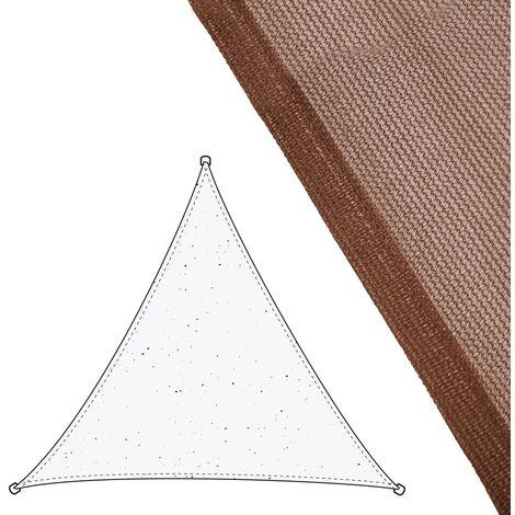 Toldo vela de sombreo triangular marrón de fibra HDPE de 3,5x3,5x3,5 metros