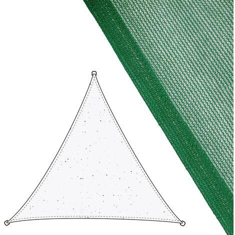 Toldo vela de sombreo triangular verde de fibra HDPE de 3,5x3,5x3,5 metros