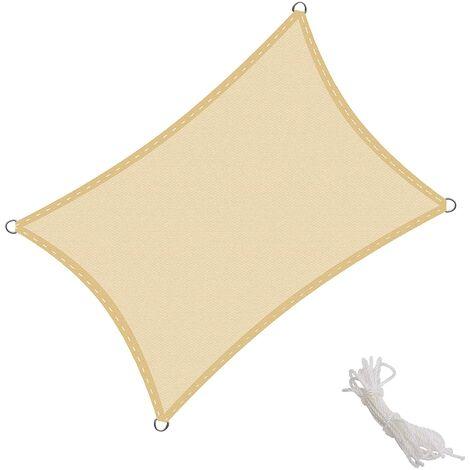 Toldo Vela Rectangular 2.5x3m Vela de Sombra para Exteriores Patio Jardín Protección UV Polietileno de Gran Densidad Transpirable, Color Arena