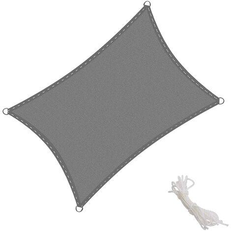 Toldo Vela Rectangular 2.5x3m Vela de Sombra para Exteriores Patio Jardín Protección UV Polietileno de Gran Densidad Transpirable, Color Grafito