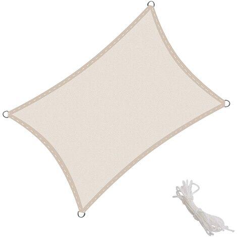 Toldo Vela Rectangular 2.5x4m Vela de Sombra para Exteriores Patio Jardín Protección UV Polietileno de Gran Densidad Transpirable, Color Crema