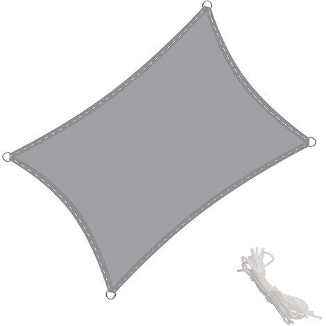 Toldo Vela Rectangular 4x5m Vela de Sombra para Exteriores Patio Jardín Protección UV PES Impermeable, Color Arena