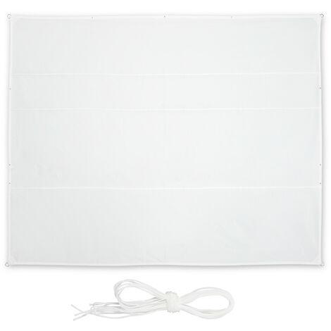 Toldo Vela Rectangular, 5 x 6 m, Repelente al agua, Protección UV, con Cuerdas, Terraza, Balcón, Color Blanco