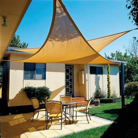 Toldo vela sombra jardin triangular 3,6x3,6x3,6 metros beige
