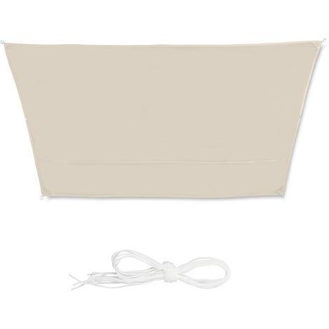 Toldo vela trapezoidal, Impermeable, Protección rayos UV, Con cuerdas para tensar, 3x4x2x2 m, Beige