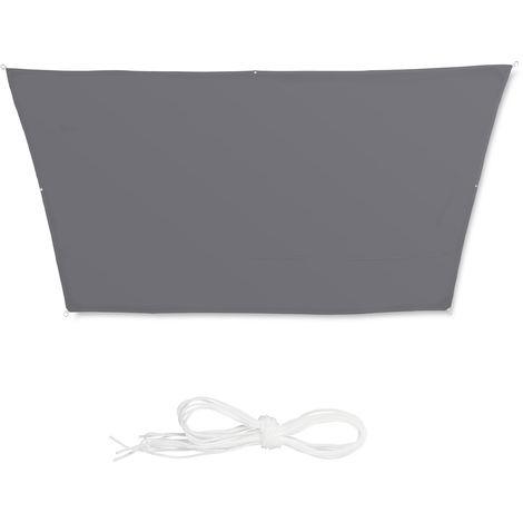 Toldo vela trapezoidal, Impermeable, Protección rayos UV, Con cuerdas para tensar, 3x4x2x2 m, Gris