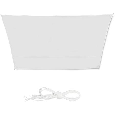 Toldo vela trapezoidal, Impermeable, Protección rayos UV, Con cuerdas para tensar, 3x4x2x2m, Blanco