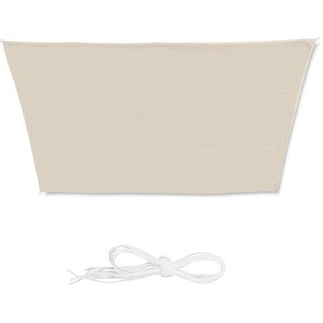 Toldo vela trapezoidal, Impermeable, Protección rayos UV, Con cuerdas para tensar, 3x5,5x4x4 m, Beige
