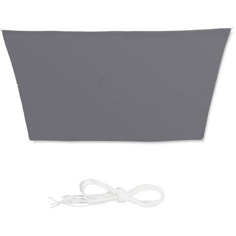 Toldo vela trapezoidal, Impermeable, Protección rayos UV, Con cuerdas para tensar, 3x5,5x4x4 m, Gris