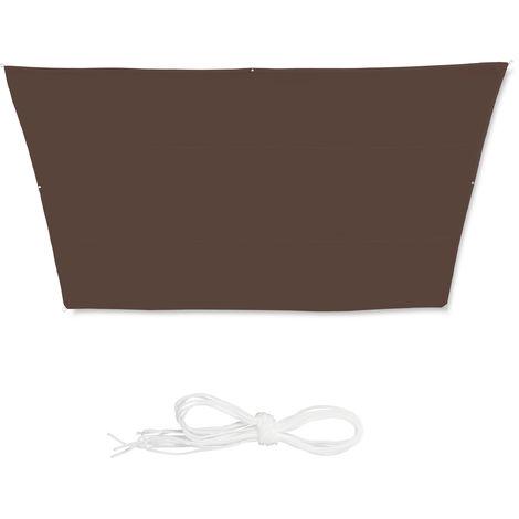 Toldo vela trapezoidal, Impermeable, Protección rayos UV, Con cuerdas para tensar, 3x5,5x4x4 m, Marrón