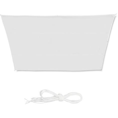 Toldo vela trapezoidal, Impermeable, Protección rayos UV, Con cuerdas para tensar, 3x5,5x4x4m, Blanco