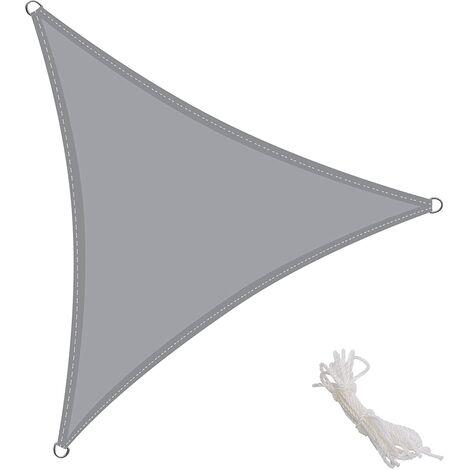 Toldo Vela Triangular 3x3x3m Vela de Sombra para Exteriores Patio Jardín Protección UV PES Impermeable, Color Gris