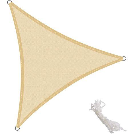 Toldo Vela Triangular 3x3x3m Vela de Sombra para Exteriores Patio Jardín Protección UV Polietileno de Gran Densidad Transpirable, Color Arena