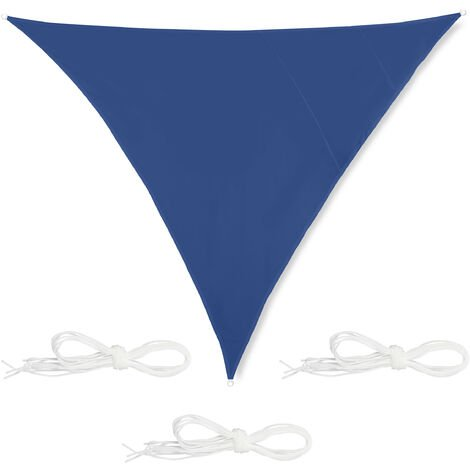 Toldo Vela Triangular, 4x4x4 m, Repelente al agua, anti-UV, con Cuerdas, Sombra, Parasol Jardín, Azul Oscuro