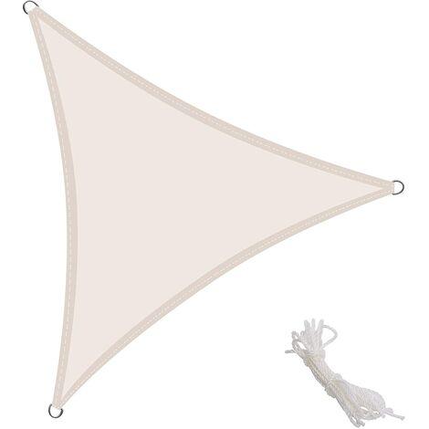 Toldo Vela Triangular 4x4x4m Vela de Sombra para Exteriores Patio Jardín Protección UV PES Impermeable, Color Crema
