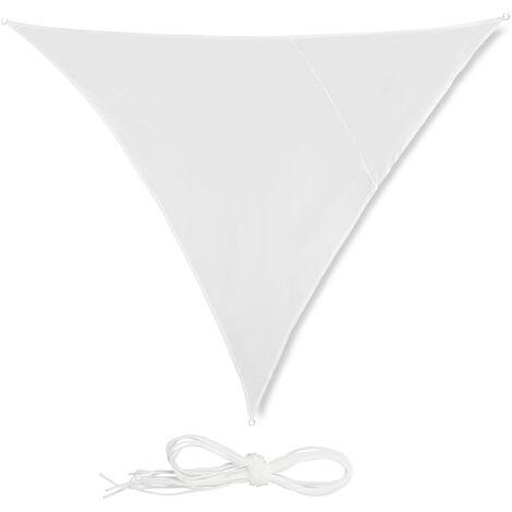 Toldo vela triangular, Impermeable, Protección rayos UV, Con cuerdas para tensar, 3x3x3 m, Blanco