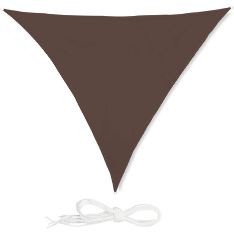 Toldo vela triangular, Impermeable, Protección rayos UV, Con cuerdas para tensar, 3x3x3 m, Marrón