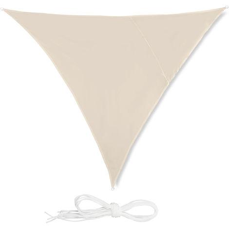Toldo vela triangular, Impermeable, Protección rayos UV, Con cuerdas para tensar, 3x3x3m, Beige