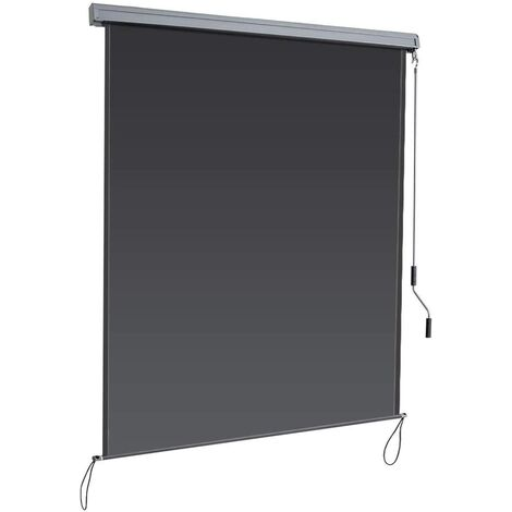 Toldo Vertical Multifuncional Estor Enrollable Protección de Privacidad Resistente a Sol para Hogar Oficina Terraza Patio (Gris Oscuro, 1,4x2,5m)