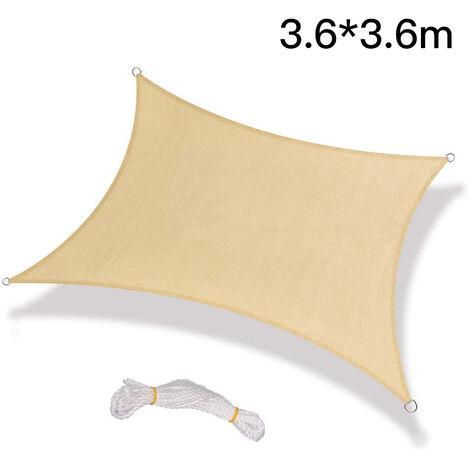 Toldos para exteriores, vela de sombra, toldo de vela rectangular, toldo de vela con protección UV, beige - 3,6 x 3,6 m