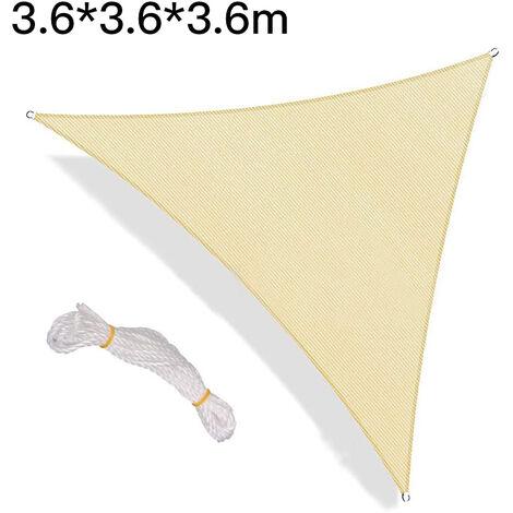 Toldos para exteriores, vela de sombra, toldo de vela triangular, toldo de vela con protección UV, beige - 3,6 x 3,6 x 3,6 m