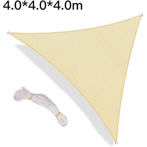 Toldos para exteriores, vela de sombra, toldo de vela triangular, toldo de vela con protección UV, beige - 4 X 4 X 4M