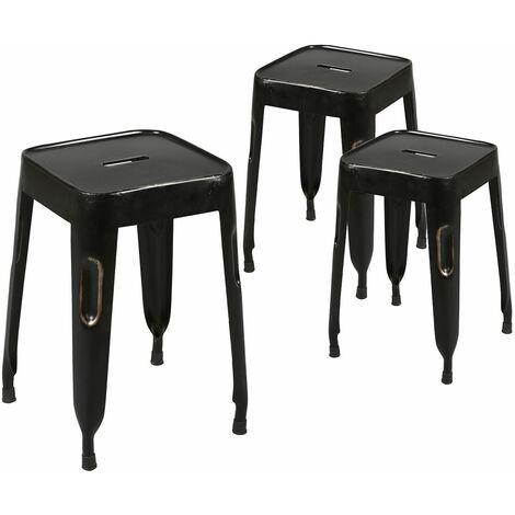 Tolga - Lot de 3 Tabourets Noirs - Noir
