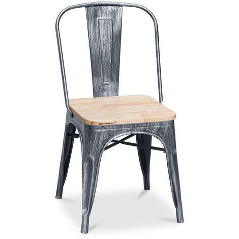 Tolix Chair Square Wooden Pauchard Style - Metal