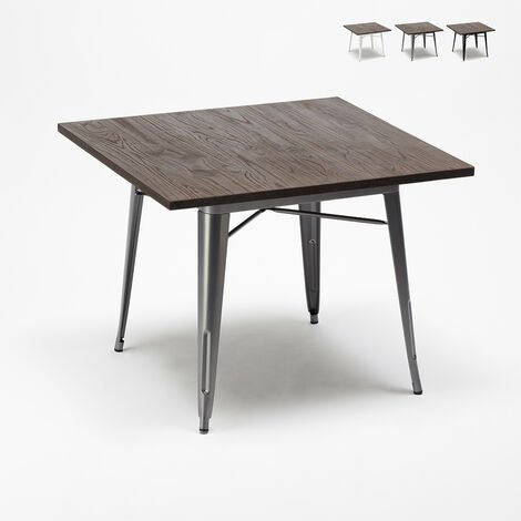 Tolix Industrial Style Table Steel Wood 80x80 for Pub Bar Dining Room ALLEN
